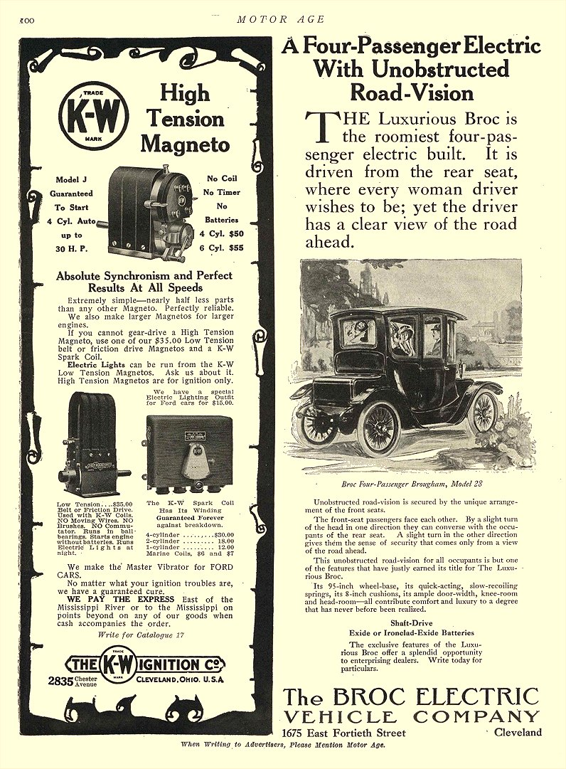 1912 5 2 BROC Electric Car A Four-Passenger Electric With Unobstructed Road-Vision The Broc Electric Vehicle Company Cleveland, OHIO MOTOR AGE May 2, 1912 8.5″x12″ page 100