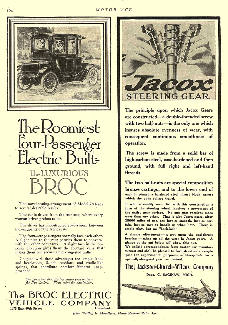 1912 6 6 BROC Electric Car The Roomiest Four-Passenger Electric Built The Broc Electric Vehicle Company Cleveland, OHIO MOTOR AGE June 6, 1912 8.5″x12″ page 104