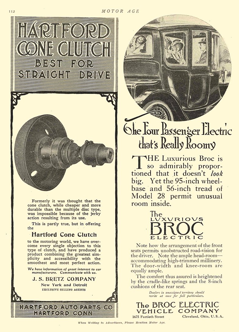 1912 9 5 BROC Electric Car The Four Passenger Electric that's Really Roomy The Broc Electric Vehicle Company Cleveland, OHIO MOTOR AGE September 5, 1912 8.5″x11.5″ page 112