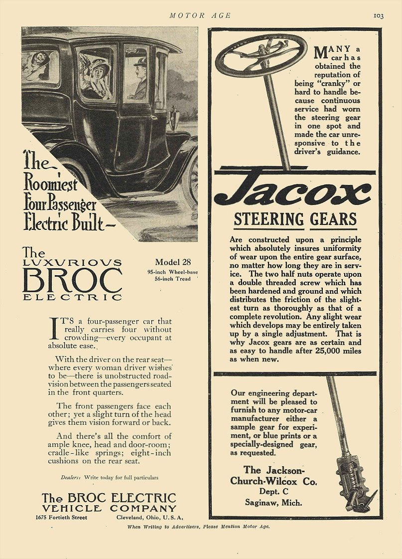 1912 8 1 BROC Electric The Roomiest Four Passenger Electric Built The Broc Electric Vehicle Company Cleveland, OHIO MOTOR AGE August 1, 1912 8.25″x12″ page 103