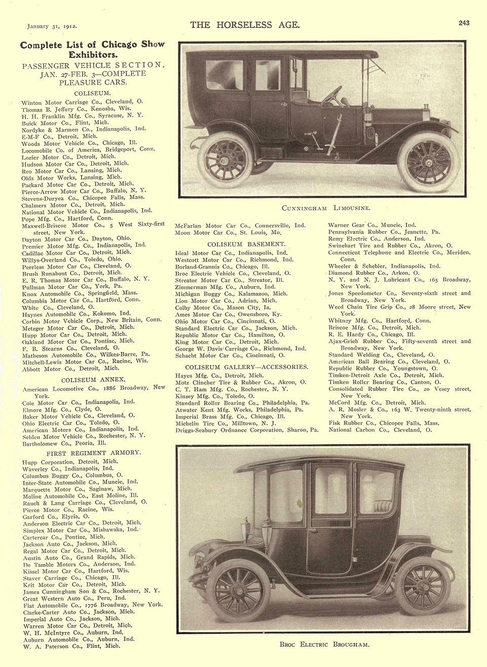 1912 1 31 BROC Electric Broc Electric Brougham THE HORSELESS AGE January 31, 1912 8.75″x11.75″ University of Minnesota Library page 243