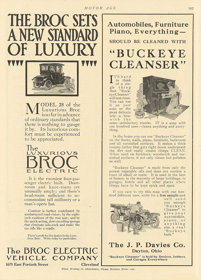 1912 7 4 BROC Electric The BROC SETS A NEW STANDARD OF LUXURY The Broc Electric Vehicle Company Cleveland, OHIO MOTOR AGE July 4, 1912 8.25″x11.5″ page 107