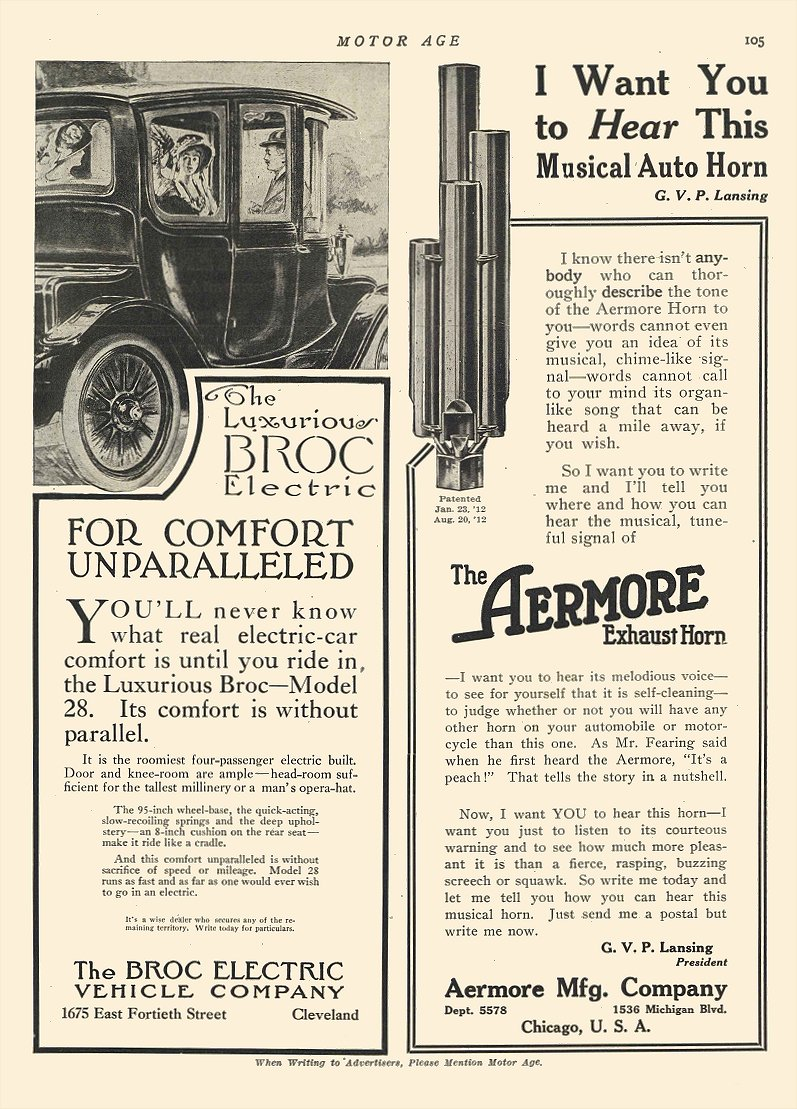 1912 11 7 BROC Electric FOR COMFORT UNPARALLELED The Broc Electric Vehicle Company Cleveland, OHIO MOTOR AGE November 7, 1912 8.5″x11.75″ page 105