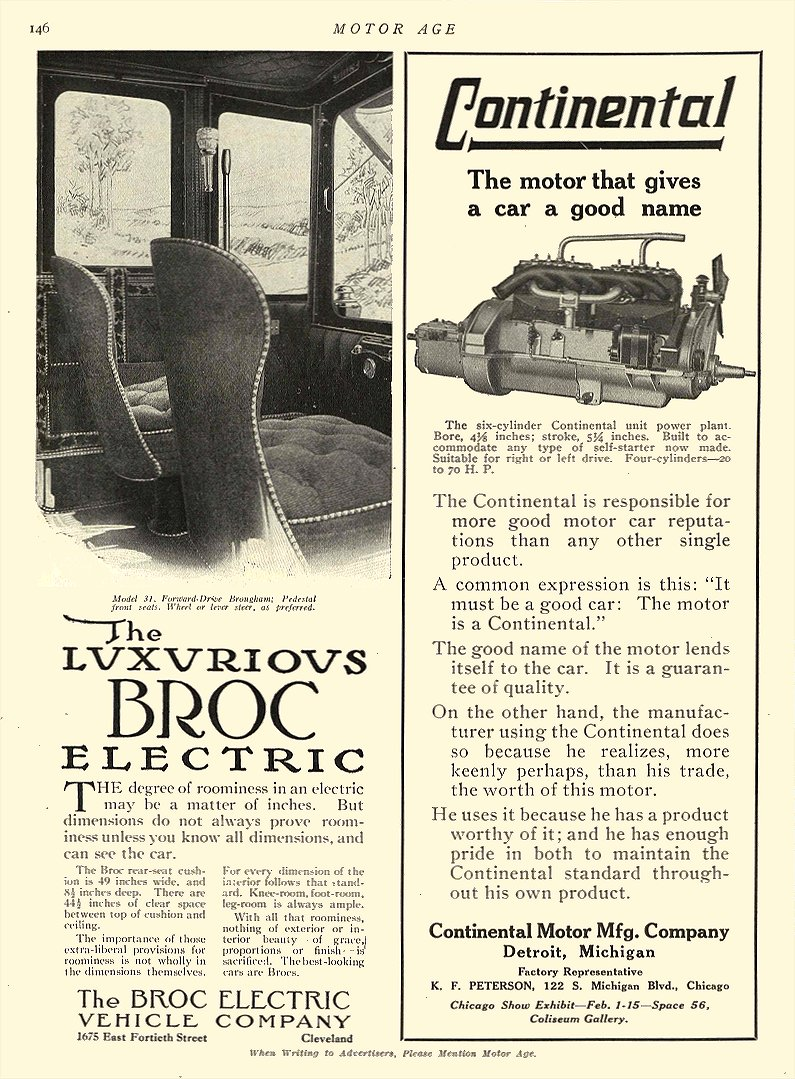1912 ca. BROC Electric Car The Luxurious BROC Electric The Broc Electric Vehicle Company Cleveland, OHIO MOTOR AGE ca. 1912 8.5″x11.5″ page 146