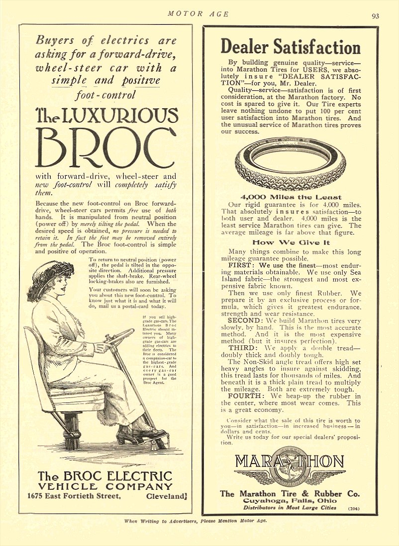 1913 7 3 BROC Electric Car The Luxurious BROC The Broc Electric Vehicle Company Cleveland, OHIO MOTOR AGE July 3, 1913 8.5″x12″ page 93