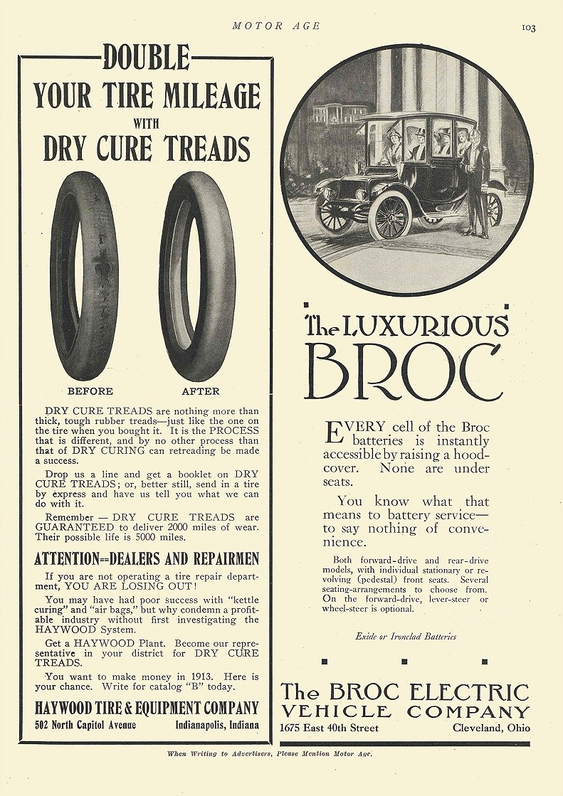 1913 BROC Electric The LUXURIOUS BROC The Broc Electric Vehicle Company Cleveland, OHIO MOTOR AGE 1913 8.5″x12″ page 103