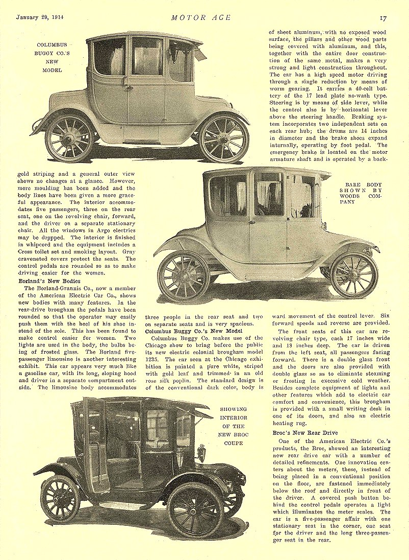 1914 1 29 BROC Electric Electric Vehicles in Novel Designs The Broc Electric Vehicle Company Cleveland, OHIO MOTOR AGE January 29, 1914 8.5″x11.75″ page 17
