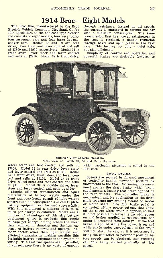 1914 1 BROC Electric Car 1914 Broc – Eight Models The Broc Electric Vehicle Company Cleveland, OHIO AUTOMOBILE TRADE JOURNAL January 1914 6.25″x9.75″ page 267