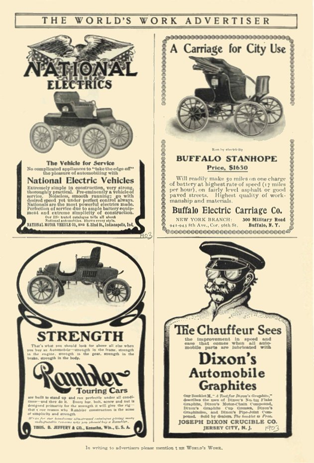 1903 BUFFALO STANHOPE $1650 $1650 in 1903 = $41,517 in 2012 Buffalo Electric Carriage Co Buffalo, N.Y. THE WORLD'S WORK ADVERTISER 1903 6.25″x10″