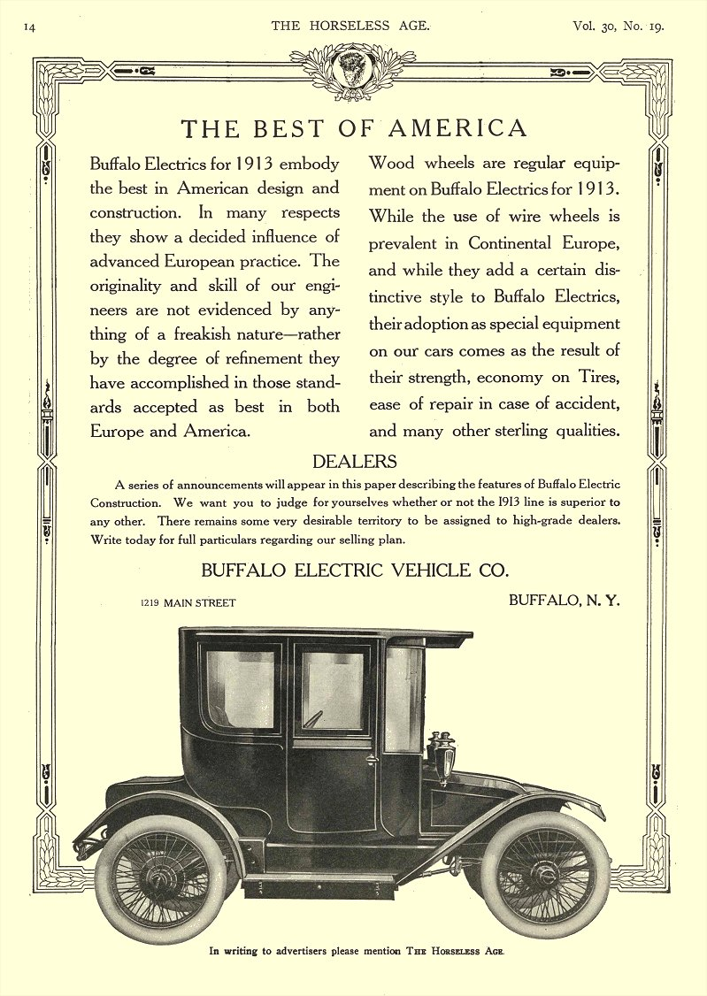 1912 11 6 BUFFALO Electric Car The Best Of America Buffalo Electric Vehicle Company Buffalo, New York THE HORSELESS AGE November 6, 1912 8.5″x11.5″ page 14