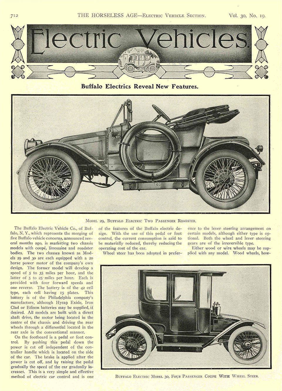 1912 11 6 BUFFALO Electric Article Buffalo Electrics Reveal New Features Model 20, Buffalo Electric Roadster Buffalo Electric Model 30 THE HORSELESS AGE November 6, 1912 University of Minnesota Library 8.5″x11.5″ page 712