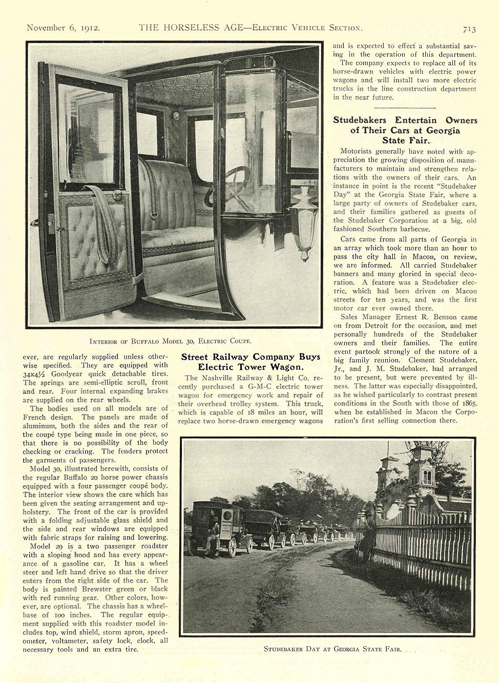 1912 11 6 BUFFALO Electric Article Buffalo Electrics Reveal New Features Interior of Buffalo Model 30, Electric Coupe THE HORSELESS AGE November 6, 1912 University of Minnesota Library 8.5″x11.5″ page 713