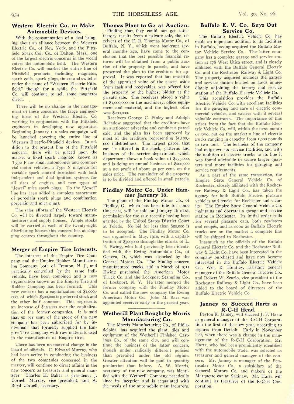 1912 12 25 BUFFALO Electric Article Buffalo E. V. Co. Buys Out Service Co. THE HORSELESS AGE December 25, 1912 University of Minnesota Library 8.5″x11.5″ page 954