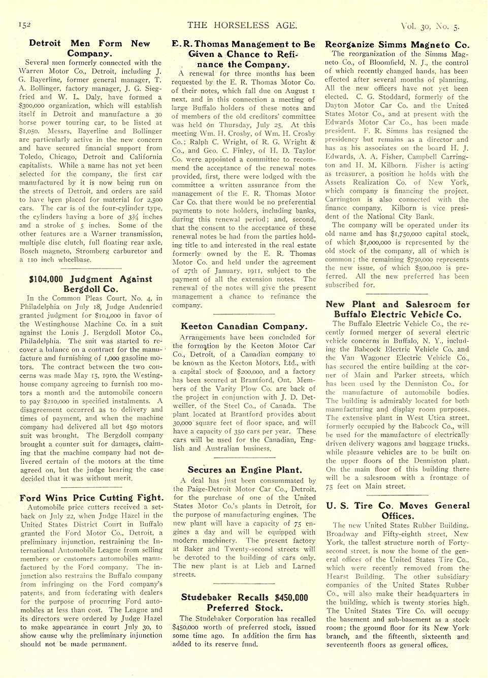 1912 7 31 BUFFALO Electric Article New Plant and Salesroom for Buffalo Electric Vehicle Co. THE HORSELESS AGE July 31, 1912 University of Minnesota Library 8.5″x11.5″ page 152