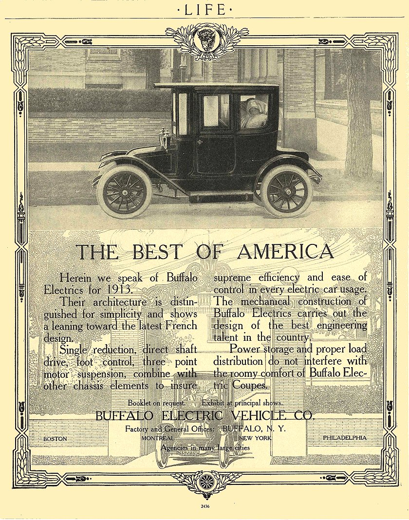 1912 BUFFALO Electric Car THE BEST OF AMERICA Buffalo Electric Vehicle Company Buffalo, New York LIFE 1912 8.5″x10.75″ page 2436