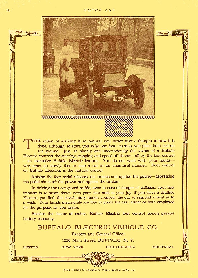 1912 1 2 BUFFALO Electric Car FOOT CONTROL Buffalo Electric Vehicle Company Buffalo, New York MOTOR AGE January 2, 1913 8.75″x12″ page 84