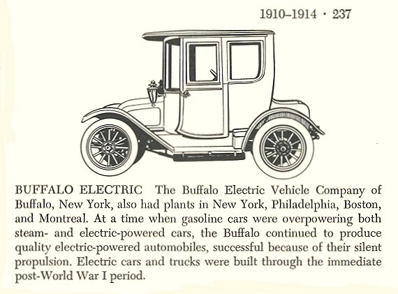 1913 ca . BUFFALO ELECTRIC Automobiles of the World By Albert L. Lewis and Walter A. Musciano DRAWINGS BY: Bjorn Karlstrom, Gary W. Musciano, Douglas Rolfe, Robert Godden Simon and Schuster New York 1977 ISBN: 0-671-22485-9 1910-1914 5.5″x8.5″ page 237