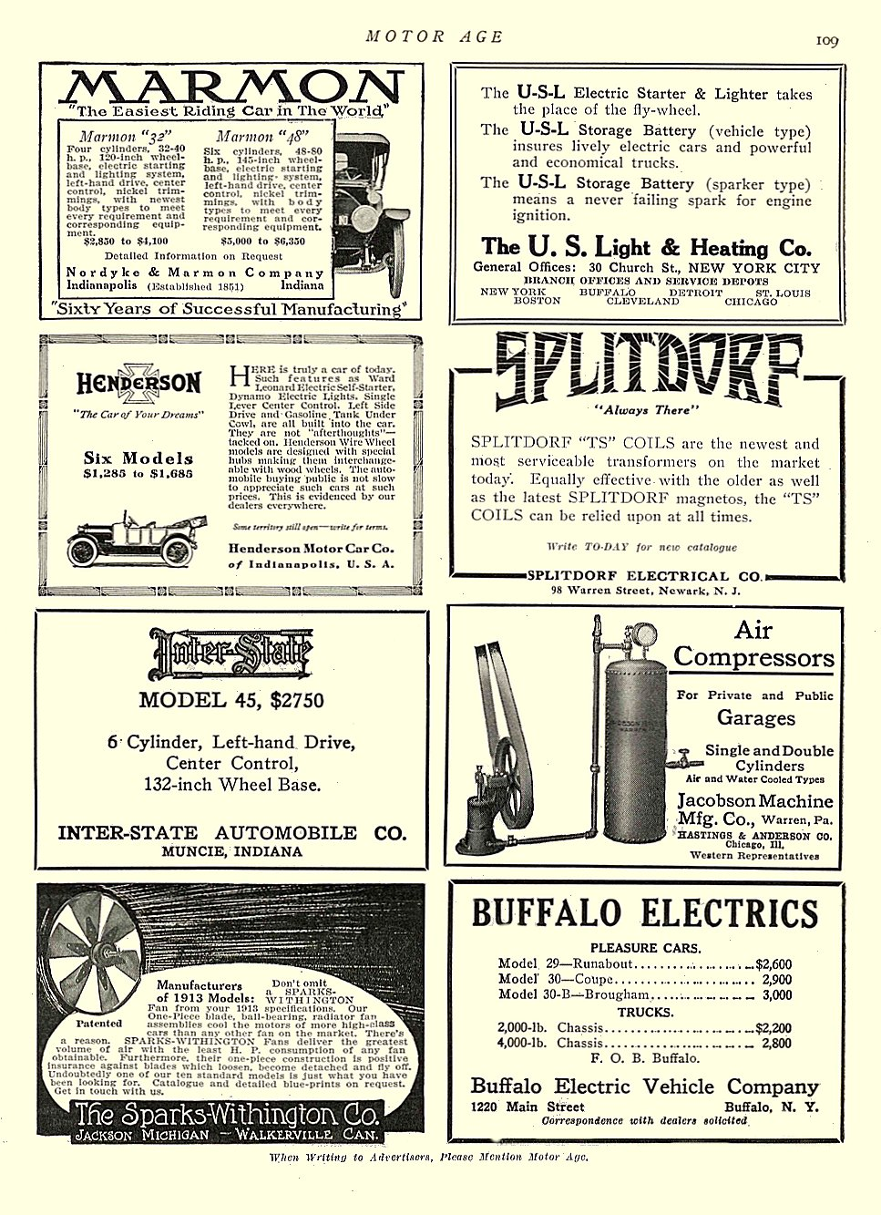1913 4 10 BUFFALO Electric BUFFALO ELECTRICS MOTOR AGE April 10, 1913 University of Minnesota Library 8.5″x11.5″ page 109