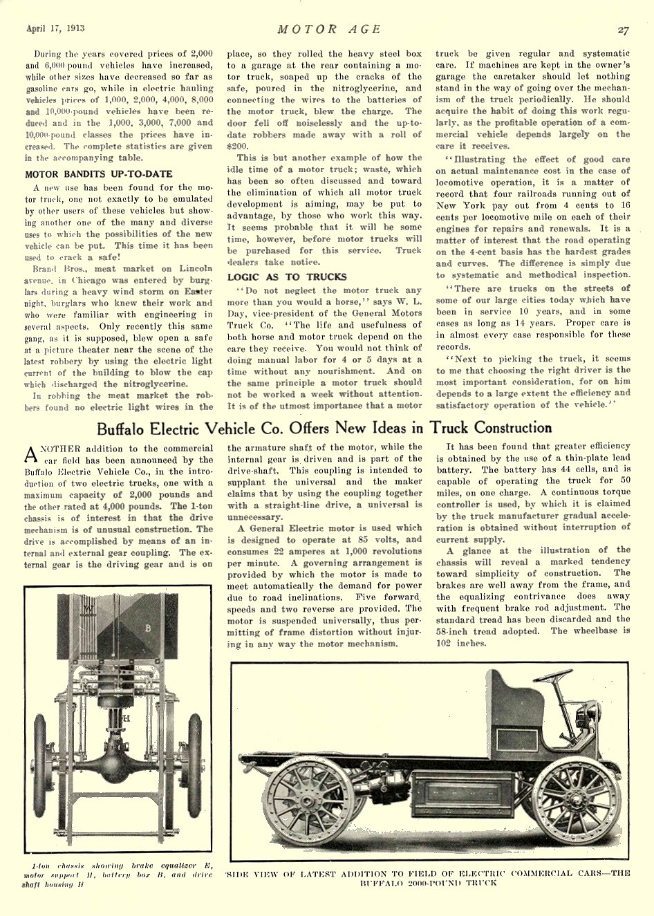 1913 4 17 BUFFALO Electric Article Buffalo Electric Vehicle Co. Offers New Ideas in Truck Construction MOTOR AGE April 17, 1913 University of Minnesota Library 8.5″x11.5″ page 27