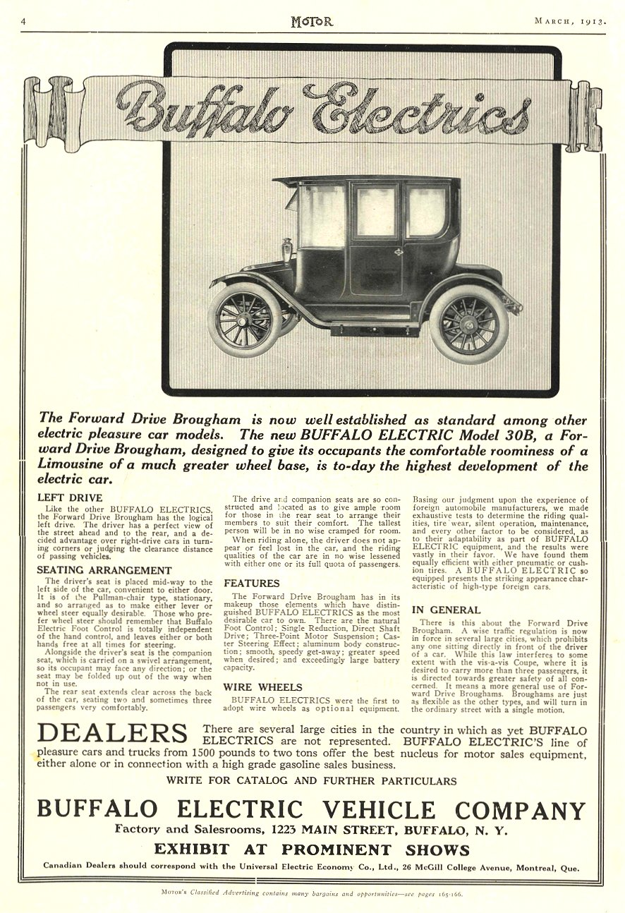 1913 3 BUFFALO Electric Car Buffalo Electrics Buffalo Electric Vehicle Company Buffalo, New York MoToR March 1913 9″x13.5″ page 4