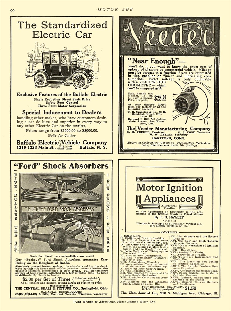 1913 9 14 BUFFALO Electric Car The Standardized Electric Car Buffalo Electric Vehicle Company Buffalo, New York MOTOR AGE September 14, 1913 8.5″x11.75″ page 90