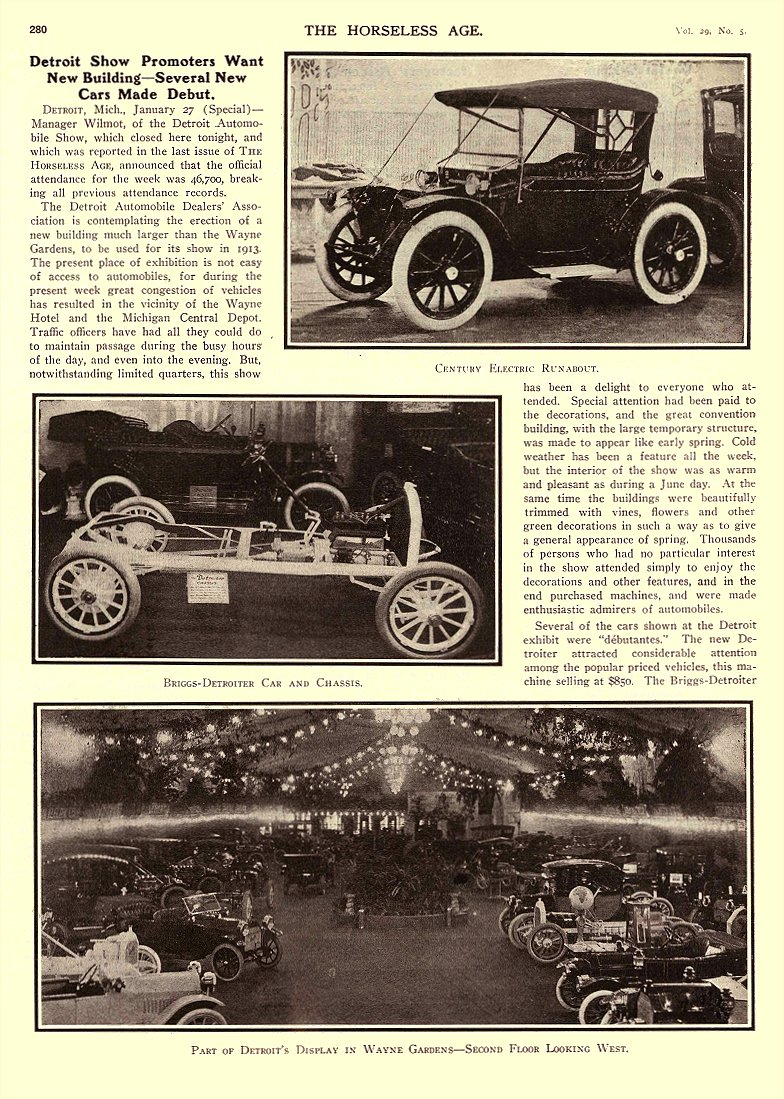 1912 1 31 CENTURY Electric CENTURY ELECTRIC RUNABOUT Century Electric Car Company Detroit, MICH THE HORSELESS AGE January 31, 1912 8.25″x12″ page 280