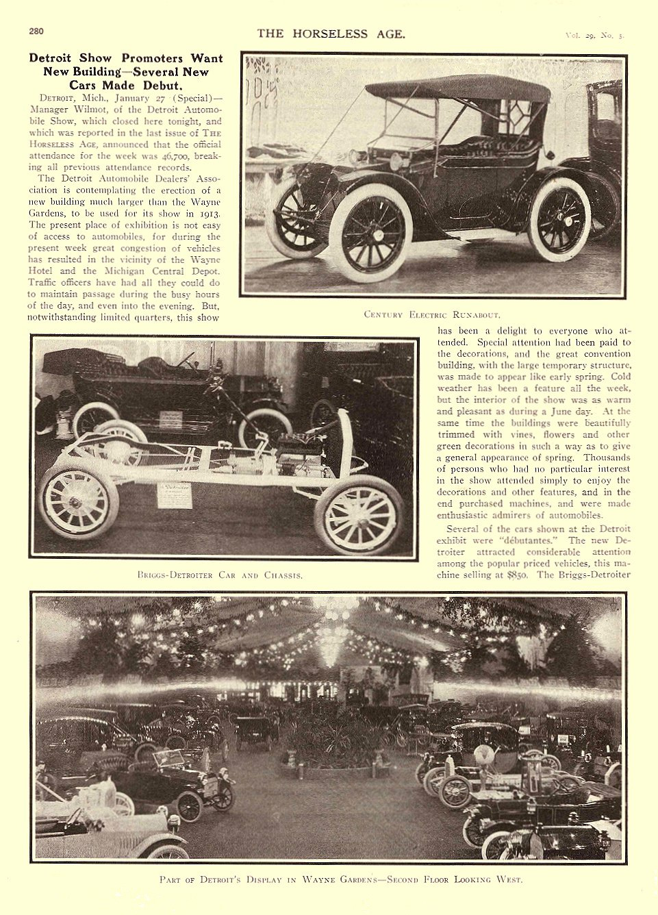 1912 1 31 CENTURY Electric Century Electric Runabout THE HORSELESS AGE January 31, 1912 University of Minnesota Library 8.75″x11.75″ page 280