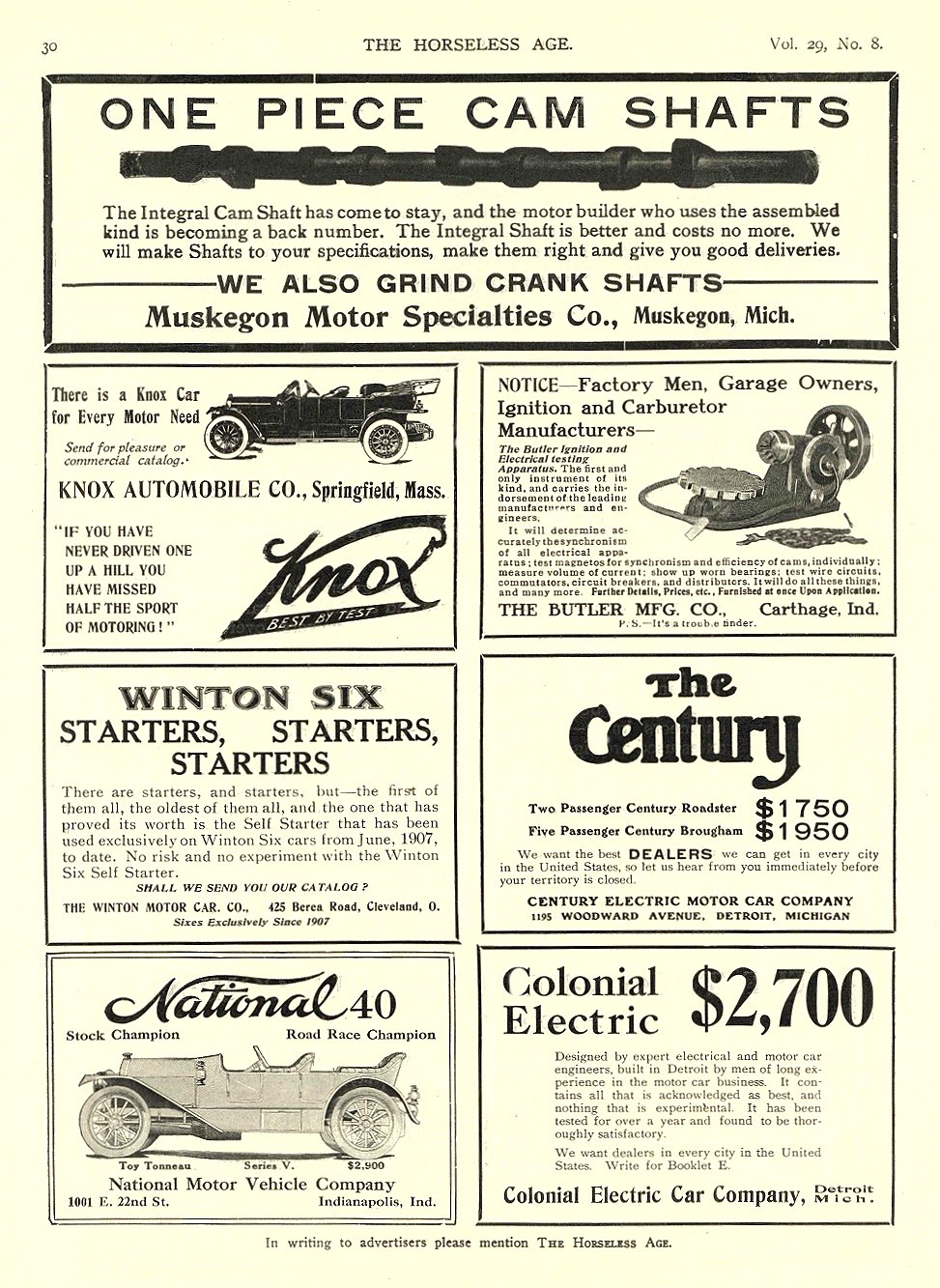 1912 2 21 CENTURY Electric The Century $1750 $1950 CENTURY ELECTRIC MOTOR CAR COMPANY Detroit, MICH THE HORSELESS AGE February 21, 1912 9″x12″ page 30