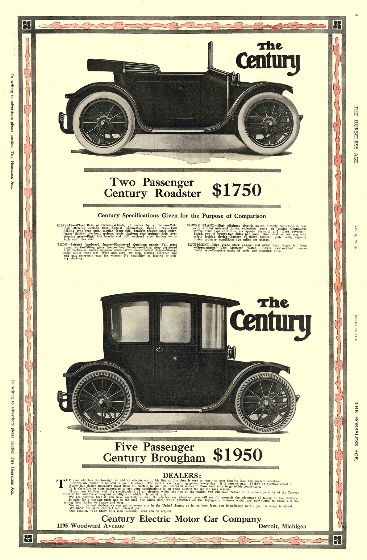 1912 1 31 Two Passenger Century Roadster $1750 Century Electric Motor Car Company Detroit, MICH THE HORSELESS AGE January 31, 1912 12″x8.75″ pages 8 & 9