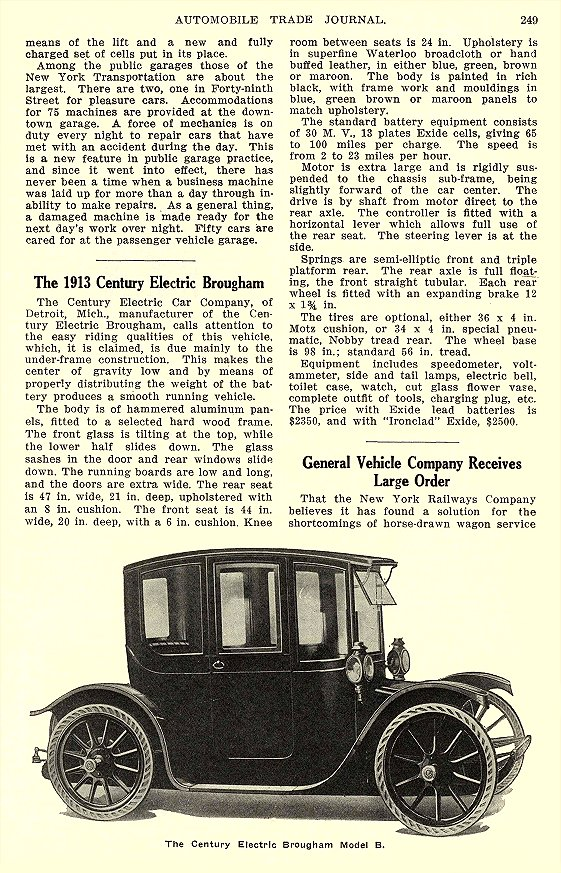 1913 5 CENTURY Electric The 1913 Century Electric Brougham Century Electric Car Company Detroit, MICH AUTOMOBILE TRADE JOURNAL May 1913 6.25″x10″ page 249