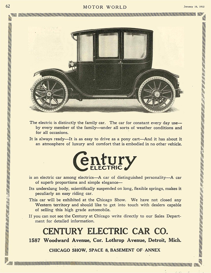 1913 1 16 CENTURY Electric Century Electric Car Co Detroit, MICH MOTOR WORLD January 16, 1913 8.25″x10.75″ page 62