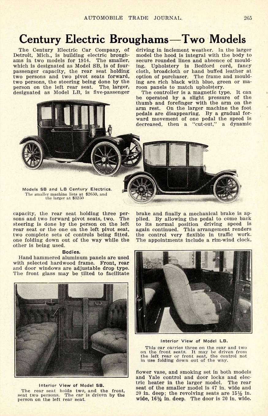 1914 Century Electric Broughams – Two Models AUTOMOBILE TRADE JOURNAL 6.5″x10″ page 265