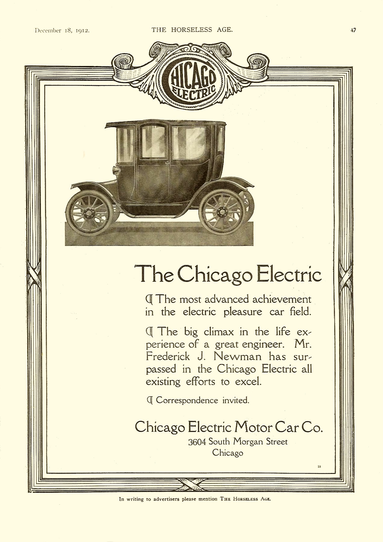 1913 12 18 The Chicago Electric Chicago Electric Motor Car Co. Chicago, Illinois THE HORSELESS AGE Vol. 30, No. 25 December 18, 1912 9″x12″ page 47