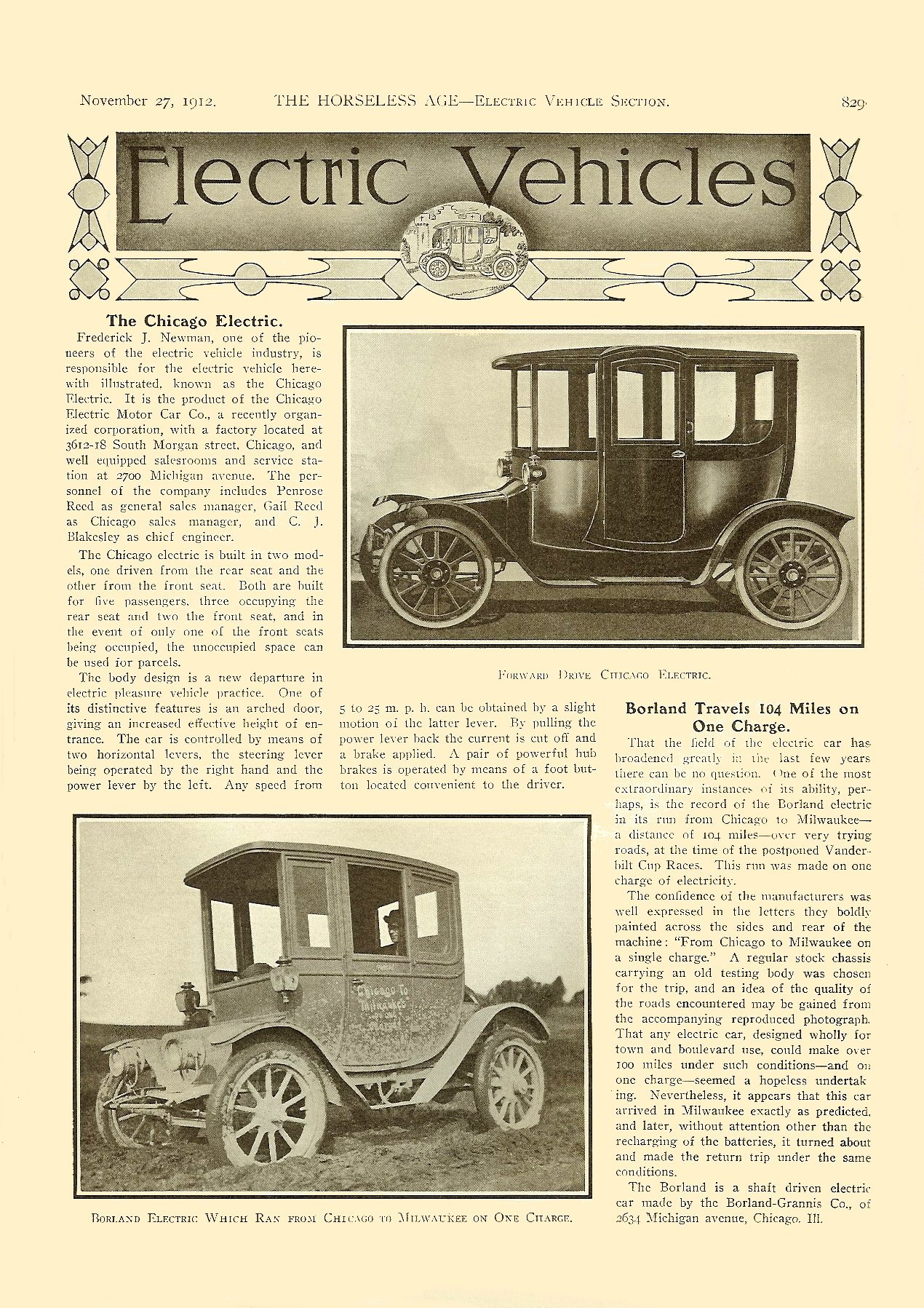 1913 11 27 Electric Vehicles The Chicago Electric THE HORSELESS AGE Vol. 30, No. 22 November 27, 1912 9″x12″ page 829