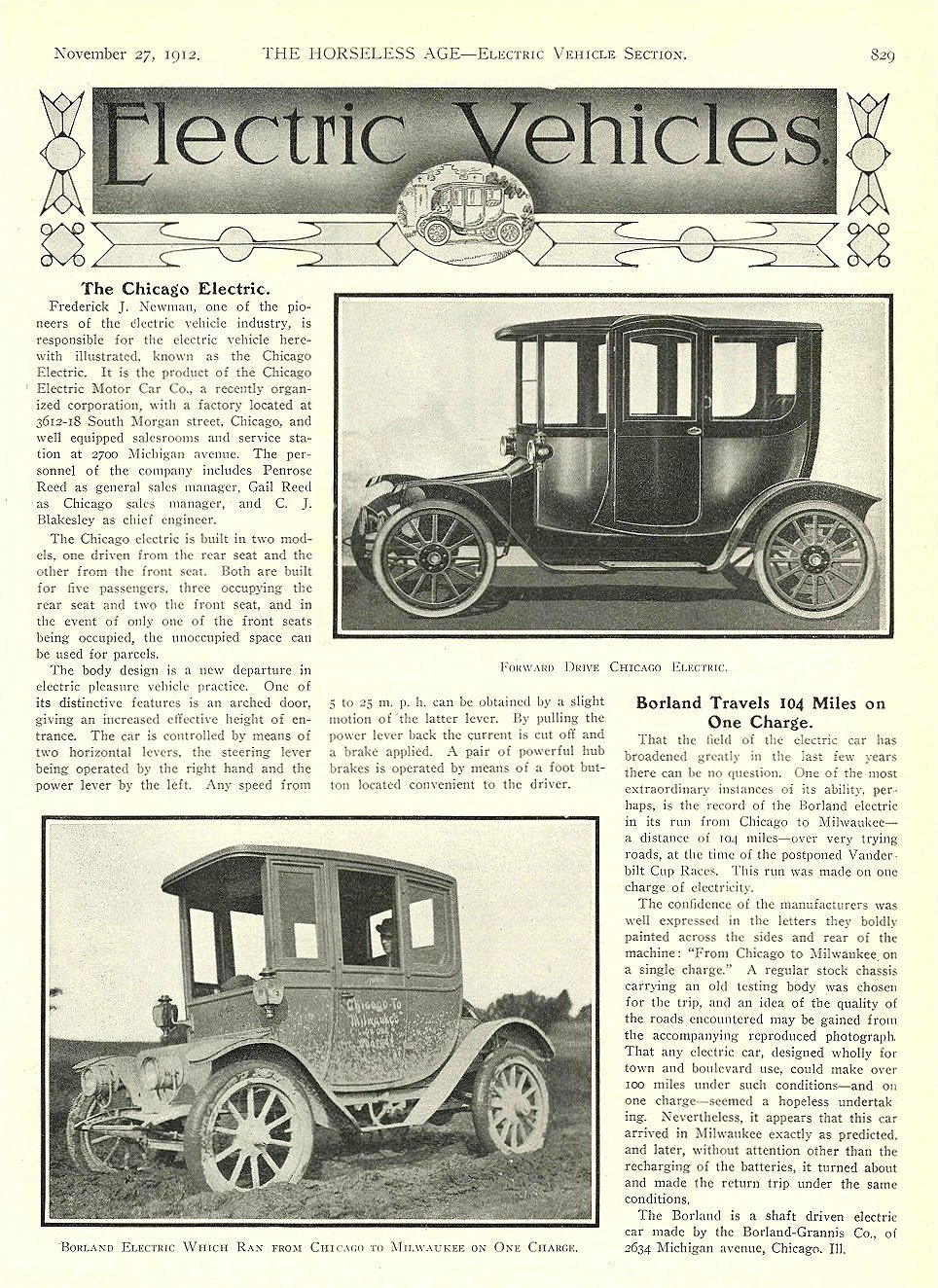 1912 11 27 CHICAGO Electric Article The Chicago Electric Borland Travels 104 Miles THE HORSELESS AGE November 27, 1912 University of Minnesota Library 8.5″x11.5″ page 829