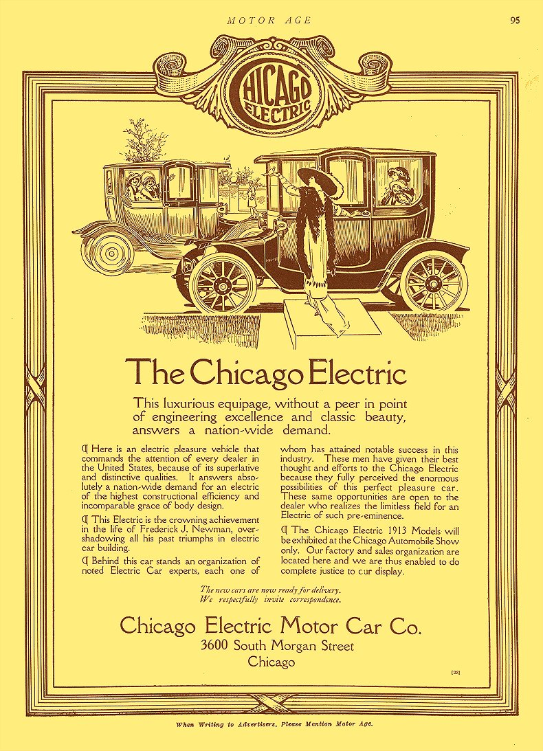 1913 1 2 CHICAGO Electric The Chicago Electric Chicago Electric Motor Car Co Chicago, ILL MOTOR AGE January 2, 1913 8.5″x12″ page 95