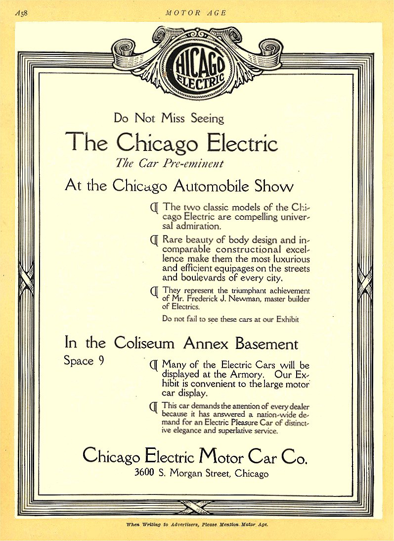 1913 1 30 CHICAGO Electric At the Chicago Automobile Show Chicago Electric Motor Car Co Chicago, ILL MOTOR AGE January 30, 1913 8.5″x11.5″ page A58