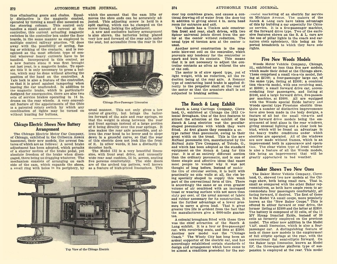1913 3 CHICAGO Electric Five-Passenger Limousine Chicago Electric Motor Car Co Chicago, ILL AUTOMOBILE TRADE JOURNAL March 1913 6.25″x9.5″ page 374