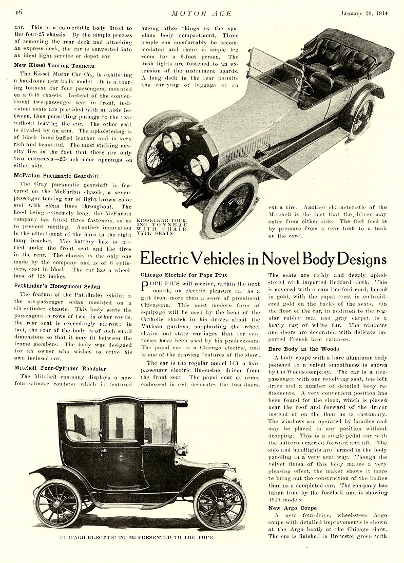 1914 1 29 CHICAGO Electric Electric Vehicles in Novel Designs Chicago Electric for Pope Pius Chicago Electric Motor Car Co Chicago, ILL MOTOR AGE January 29, 1914 8.5″x11.75″ page 16