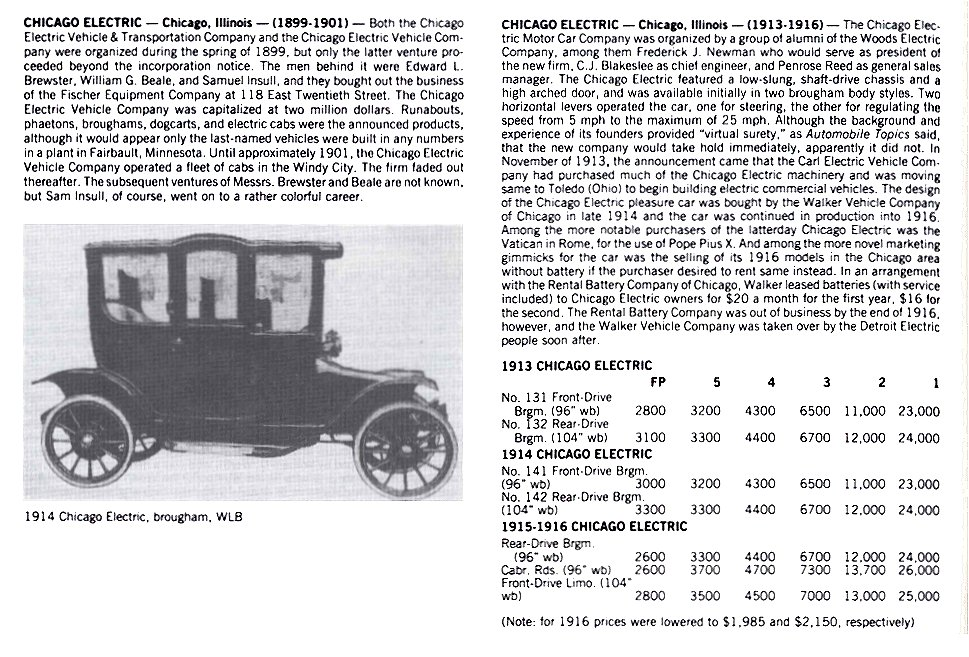 CHICAGO Electric Chicago, Illinois 1913-1916 Standard Catalog of AMERICAN CARS 1805-1942 By Beverly Rae Kimes & Henry Austin Clark, Jr. Krause Publications ISBN: 0-87341-428-4 8.5″x11″ page 304