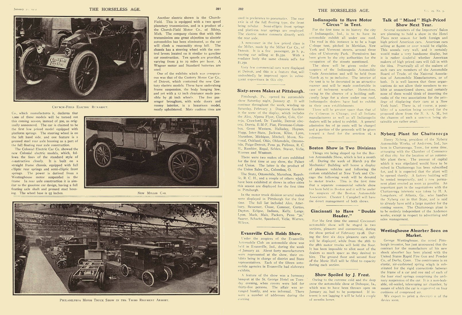 1912 1 31 CHURCH-FIELD Electric Runabout The Church-Field Motor Co Sibley, MICH THE HORSELESS AGE January 31, 1912 8.25″x12″ page 281