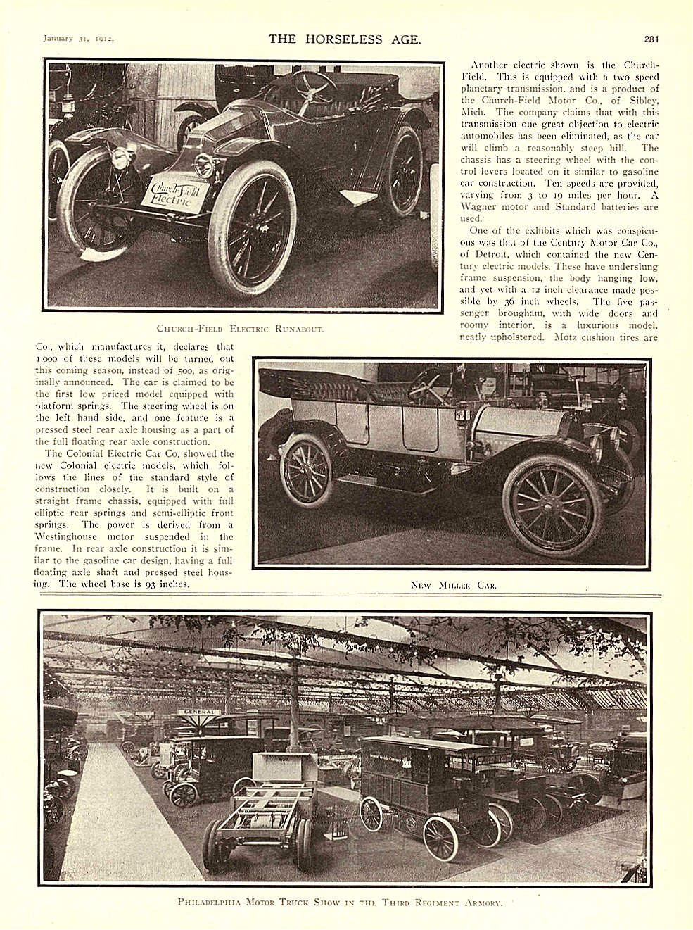 1912 1 31 CHURCH-FIELD Electric Church-Field Electric Runabout THE HORSELESS AGE January 31, 1912 University of Minnesota Library 8.75″x11.75″ page 281