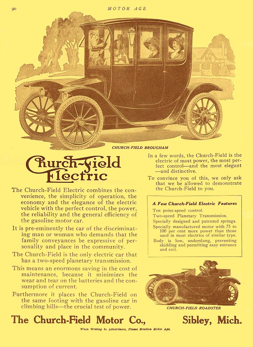 1913 1 2 CHURCH-FIELD Electric Car The Church-Field Motor Co Sibley, MICH MOTOR AGE January 2, 1913 8.5″x12″ page 90