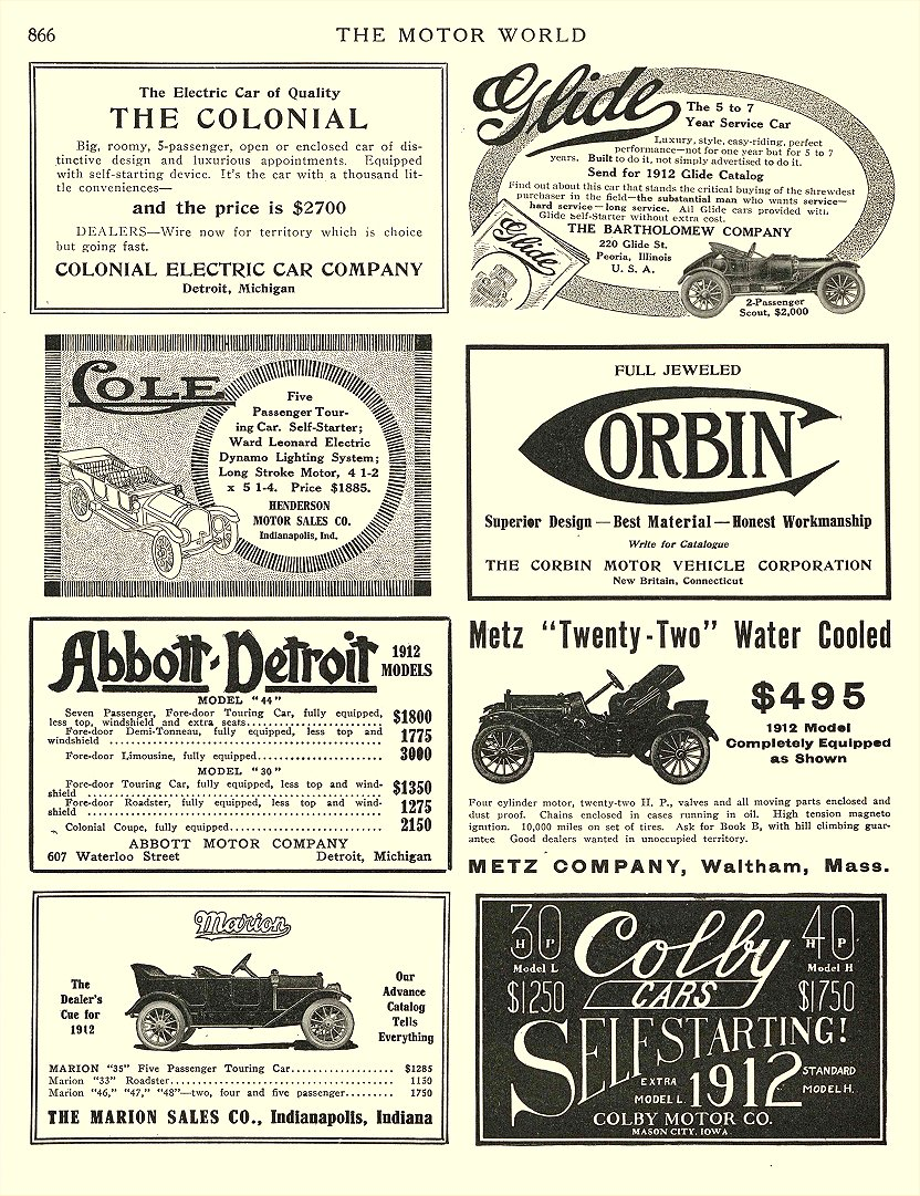 1912 2 15 COLONIAL Electric THE COLONIAL COLONIAL ELECTRIC CAR COMPANY Detroit, MICH THE MOTOR WORLD February 15, 1912 8.5″x12″ page 866