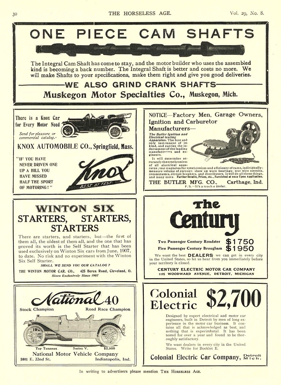 1912 2 21 COLONIAL Electric Colonial Electric $2,700 Colonial Electric Car Company Detroit, MICH THE HORSELESS AGE February 21, 1912 9″x12″ page 30