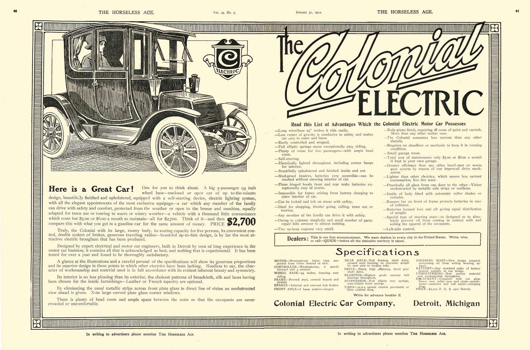 1912 1 31 COLONIAL Here is a Great Car! $2,700 Colonial Electric Car Company Detroit, MICH THE HORSELESS AGE January 31, 1912 8.5″x12″ pages 40 & 41