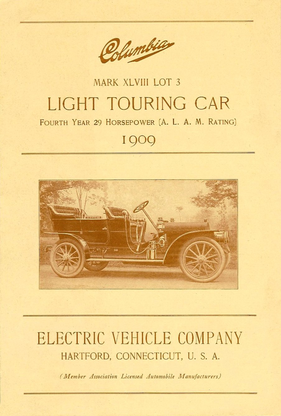 1909 COLUMBIA Columbia Light Touring Car Mark XLVIII Lot 3 Electric Vehicle Company Hartford, Connecticut, USA Folded: 6″x9″ Front page