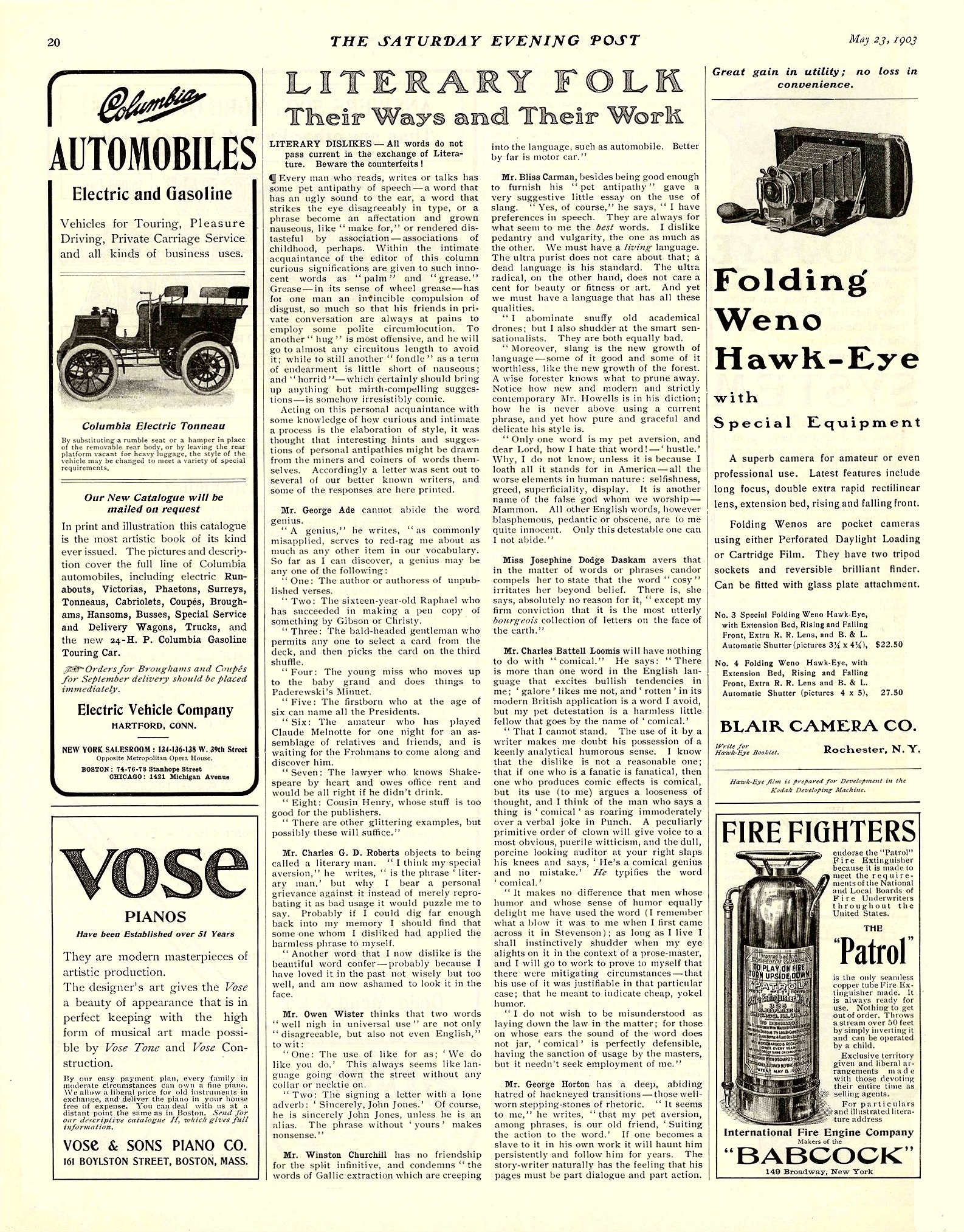 1903 5 23 COLUMBIA Columbia AUTOMOBILES Electric and Gasoline THE SATURDAY EVENING POST May 23, 1903 10.75″x13.75″ page 20
