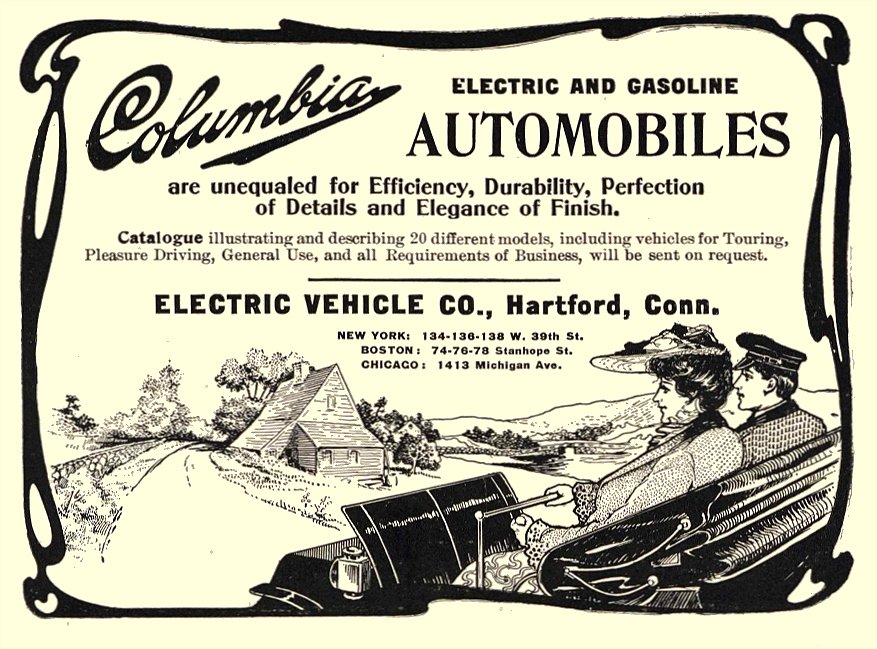 1903 8 COLUMBIA Electric Automobile Electric and Gasoline Electric Vehicle Co Hartford, CONN August 1903 6.25″x4.5″