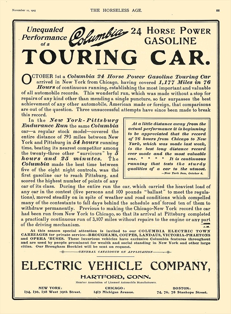 1903 5 18 COLUMBIA Columbia TOURING CAR ELECTRIC VEHICLE CO Hartford, CONN THE HORSELESS AGE May 18, 1904 9.25″x12″ page 3